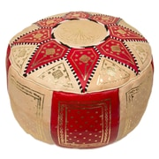 Casablanca Market Moroccan Marrakech Pouf Leather Ottoman; Red