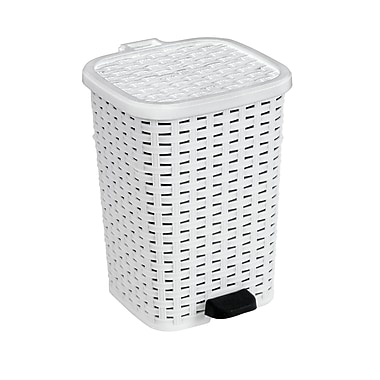 Performance 16 Gallon Step On Rattan Trash Can White Staples