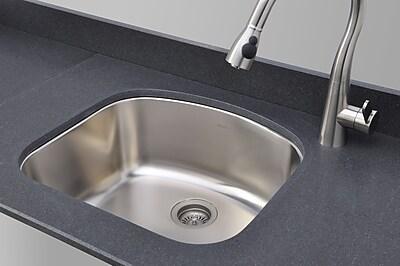 WELLS SINKWARE Chicago Series 23.06'' x 20.88'' D-shaped Kitchen Sink WYF078277247848