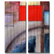 All My Walls 'Big Red Rectangle' by Tamera Tabor 2 Piece Painting Print Plaque Set