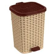 Superior Performance 6.8-Gal. Rattan Compact Trash Bin; Beige and Brown