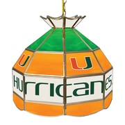 Trademark Global University of Miami 16 Inch Handmade Tiffany Style Lamp (MIA1600-U)