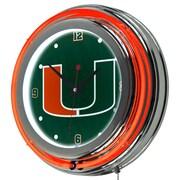 Trademark Global University of Miami Chrome Double Rung Neon Clock, Wordmark (MIA1400-WM)