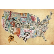 PTM Images Vintage Plate Map Graphic Art on Wrapped Canvas