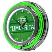 Trademark Global Bud Light Lime-A-Rita Chrome Double Ring Neon Clock (AB1400-LAR)