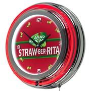 Trademark Global Bud Light Straw-Ber-Rita Chrome Double Ring Neon Clock (AB1400-SBR)