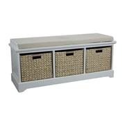 Gallerie Decor Newport Wooden Bedroom Storage Bench with 3 Baskets; Cream
