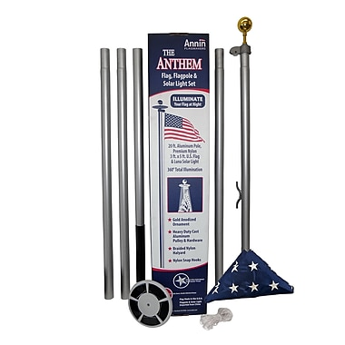 Annin Flagmakers In-Ground Flagpole w/ US Flag and Solar Light Set