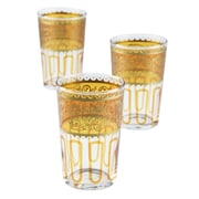 Casablanca Market Moroccan Essaouira Glasses (Set of 6); Orange / Gold