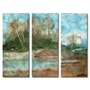 All My Walls 'Landscape' by Stephanie Kriza 3 Piece Painting Print Plaque Set