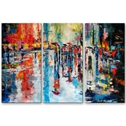 All My Walls 'Wet City Streets' by Claude Marshall 3 Piece Painting Print Plaque Set