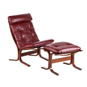 Wildon Home   Bently Chair and Ottoman; Ruby Red