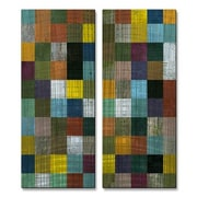 All My Walls 'Rustic Wooden Abstract III' by Michelle Calkins 2 Piece Graphic Art Plaque Set