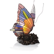 River of Goods Stained Glass Butterfly Accent 8.75'' H Table Lamp with Novelty Shade