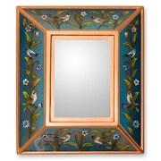 Novica The Gelacio Giron Reverse Painted Glass Mirror; Blue