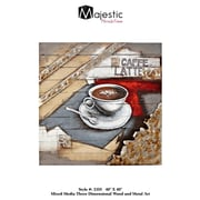 Majestic Mirror Square Abstract Hand Painted Espresso Brown Coffee Wood And Metal Wall Art