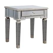 Elegant Lighting Florentine End Table; Silver & Clear Mirror