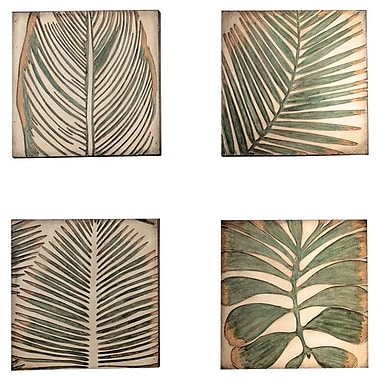 Kokoware Palm Leaf Graphic Art on Plaque (Set of 4)