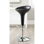 Safavieh Shedrack Adjustable Height Swivel Bar Stool with Cushion; Black