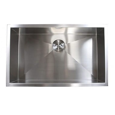 eModern Decor 30'' x 18'' Single Bowl Undermount Kitchen Sink