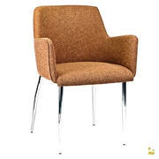 Kanto PALMA-4 Wool Arm Chairs with Chrome Legs (Set of 2); Warm coffee