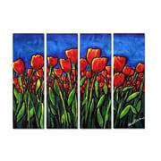 All My Walls 'Vibrant Red Tulips' by Renie Britenbucher 4 Piece Graphic Art Plaque Set