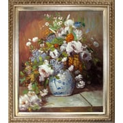 Tori Home Grande Vase Di Fiori by Renoir Framed Hand Painted Oil on Canvas