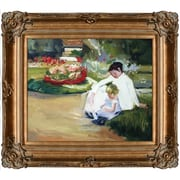 Tori Home Woman and Child Seated in a Garden by Mary Cassatt Framed Hand Painted Oil on Canvas