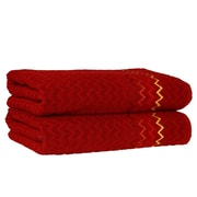 Linum Home Textiles Montauk Zig Zag Bath Towel (Set of 2); Burgundy