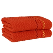 Linum Home Textiles Montauk Zig Zag Bath Towel (Set of 2); Pumpkin
