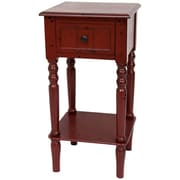 Oriental Furniture End Table; Antique Red