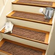 Bungalow Flooring Aqua Shield Dark Brown Brittany Leaf Stair Tread (Set of 4)