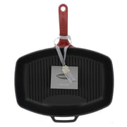 Chasseur Chasseur 12-inch Rectangular French Enameled Cast Iron Grill Pan; Red