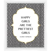 PTM Images Happy Girls Gicl e Framed Textual Art in Black and White