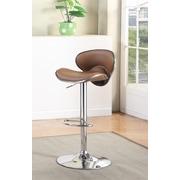 Hokku Designs Vince Leatherette Adjustable Height Swivel Bar Stool with Cushion; Camel