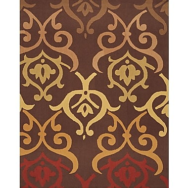 InnerSpace Luxury Products Cosette Fleur-de-Lis Brown/Red Rug