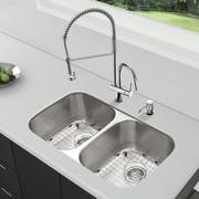 Vigo Platinum 32.25'' x 18.5'' Undermount Stainless Steel Kitchen Sink with Faucet