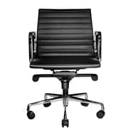 Wobi Office Reed Mid-Back Leather Desk Chair; Black