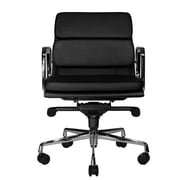 Wobi Office Clyde Mid-Back Leather Desk Chair; Black