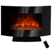 AKDY 36'' Freestanding Curved Glass Electric Fireplace with LED Backlight