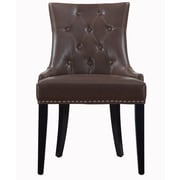 TOV Uptown Leather Side Chair; Brown