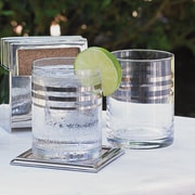 Studio A Barware 6 oz. Platinum Banded Double Old Fashion Glass (Set of 4)