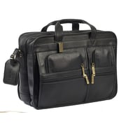 Claire Chase Leather Laptop Briefcase; Black