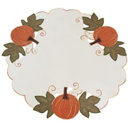 Xia Home Fashions Pumpkin Patch Embroidered Cutwork Linens Round Doily (Set of 4)