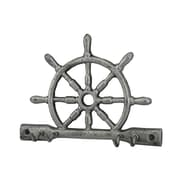 Handcrafted Nautical Decor Cast Iron Ship Wheel Wall Hook; Rustic Silver