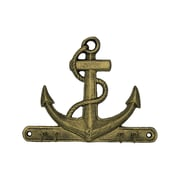 Handcrafted Nautical Decor Anchor 7'' Rustic Silver Cast Iron Wall Hooks; Rustic Gold
