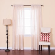Best Home Fashion, Inc. Venice Sheer Damask Rod Pocket Curtain Panels (Set of 2); Ivory