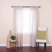 Best Home Fashion, Inc. Ikat Sheer Rod Pocket Curtain Panels (Set of 2); Beige