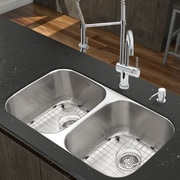 Vigo 32.25'' x 18.5'' Undermount Stainless Steel 18 Gauge Double Bowl Kitchen Sink