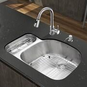 Vigo Platinum 31.75'' x 21'' Undermount Stainless Steel Kitchen Sink with Faucet